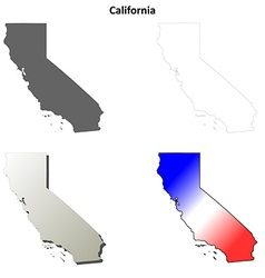 California outline map set vector image vector image