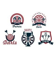 Darts game icons or symbols set vector image vector image