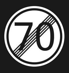 end maximum speed limit 70 sign flat icon vector image vector image
