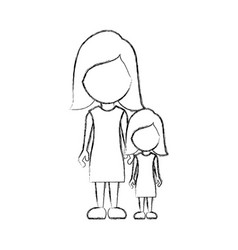 figure woman with her daughter icon vector image