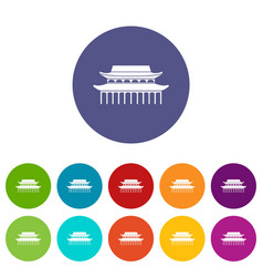 buddha toothe relic temple in singapore set icons vector image