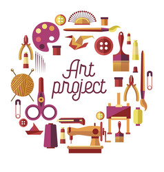 Creative art project poster for diy vector