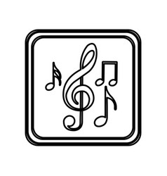 Monochrome contour of button with set of musical vector