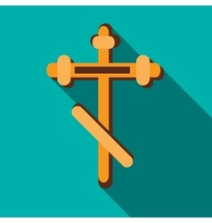 Orthodox cross icon in flat style vector image