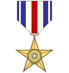 Silver star medal vector