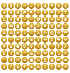 100 mill icons set gold vector