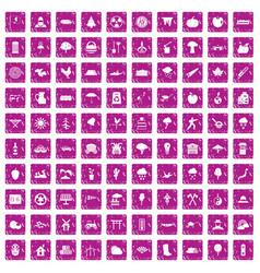 100 tree icons set grunge pink vector