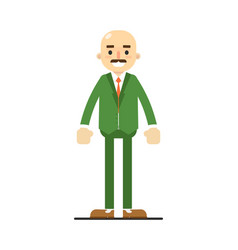 Adult bald man with mustache in green suit vector