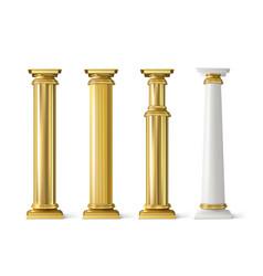antique gold pillars set ancient golden columns vector image
