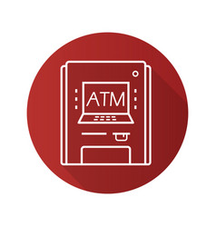 Atm machine flat linear long shadow icon vector