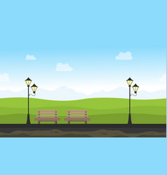 Background game for garden with chair and lamp vector