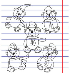 bears in caps of santa claus on the notebook vector image