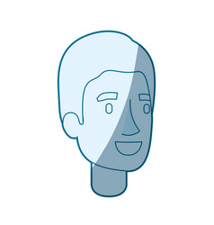 Blue color silhouette shading of young man face vector