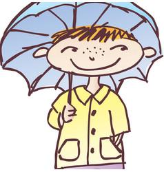 boy under an umbrella vector image