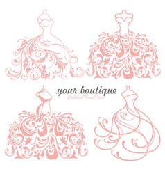 bridal wedding dress boutique logo design set vector image