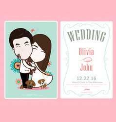 bride and groom and flower beautiful wedding card vector image