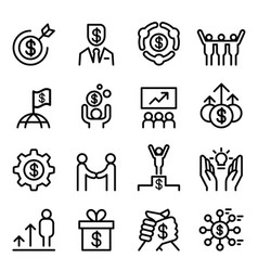 business success icon set in thin line style vector image