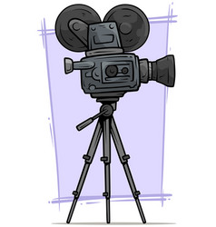 cartoon vintage retro movie camera on tripod vector image