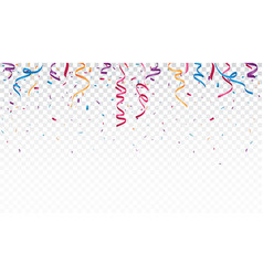 Celebration with colorful ribbon and confetti vector