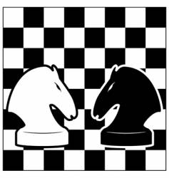 Chess board and two knights vector