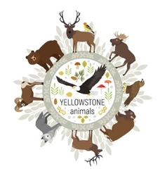 Circle template of Yellowstone National vector image