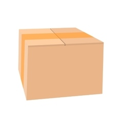 Closed cardboard box taped up cartoon icon vector image vector image