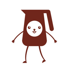 Coffee teapot kawaii character vector