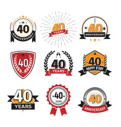 collection of retro 40 th years anniversary logo vector image