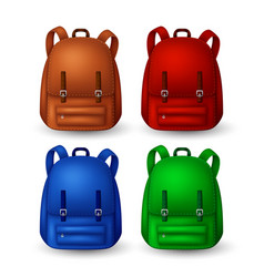 Colored school backpacks set vector