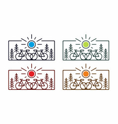 Colorful flat line art bicycle vector