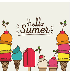 colorful poster of hello summer with variety of vector image