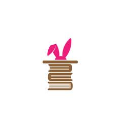 creative magic rabbit ears library logo vector image