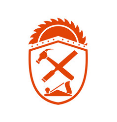 Crossed hammer and rasp tools crest retro vector