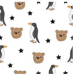 cute bear and penguin seamless vector image