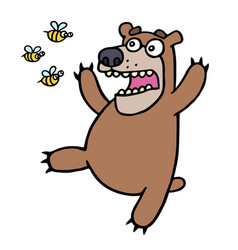 Cute bear in panic angry bees vector