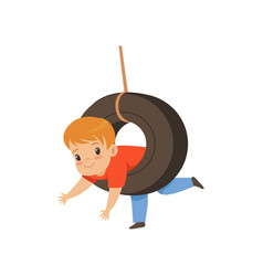 Cute boy riding swing made from tire little kid vector