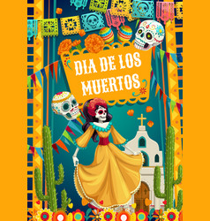 Day dead catrina calavera woman and paper flags vector
