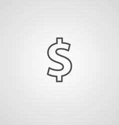 dollar outline symbol dark on white background vector image vector image