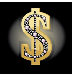 Dollar symbol in diamonds vector