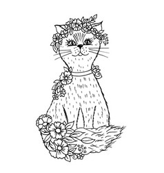 doodle cute cat with flowers black outline vector image