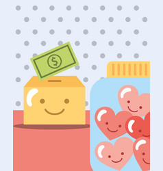 Dotted background box with money and jar hearts vector
