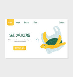 eco website template with turtle stop plastic vector image