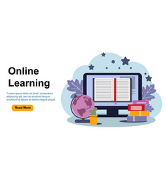 Education online learning landing page flat vector