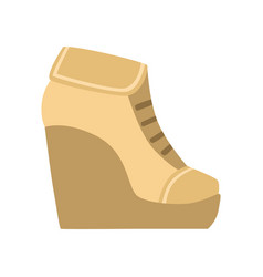 Female brown wedge bootie isolated footwear flat vector