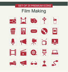 Film making icons set red vector