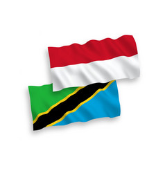 Flags indonesia and tanzania on a white vector
