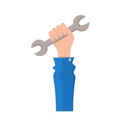 flat man hand holding wrench vector image