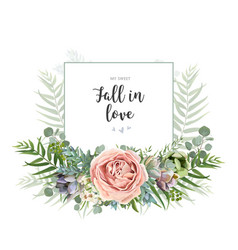 floral invite greeting postcard card design vector image vector image