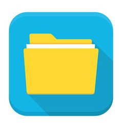 Folder with paper flat app icon with long shadow vector image