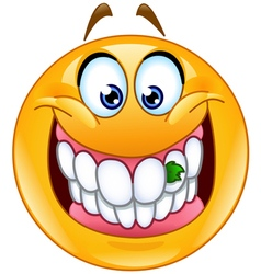 food stuck in teeth emoticon vector image